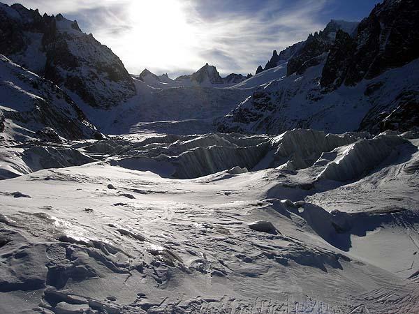 Фрирайд по леднику в Белой долине, Шамони